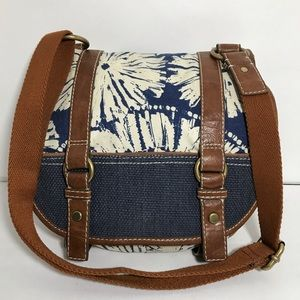 Fossil Canvas and Leather Crossbody Shoulder Purse